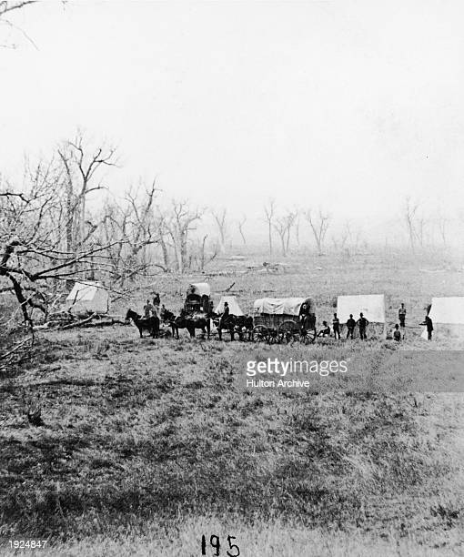 Captain Sanderson's camp at the ford while gathering and burying bones following the death of General Custer at the Battle of Little Big Horn 1876