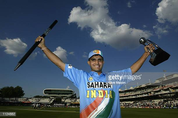Captain Saurav Ganguly of India with the Trophy during the match between England and India in the NatWest One Day Series Final at Lord's in London...