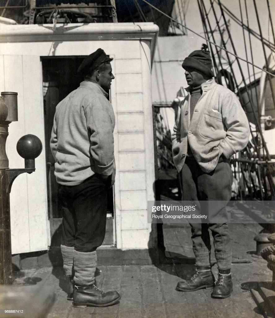 Captain Scott and Lieutenant Evans on the deck of the Terra Nova, Antarctica, 1910. British Antarctic Expedition 1910-1913.