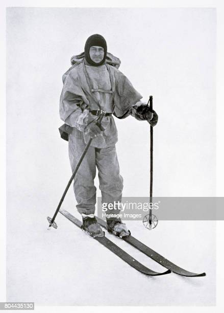 Captain Scott British polar explorer in the Antarctic 1911 Scott on skis during the 'Terra Nova' expedition to the South Pole Scott and four...