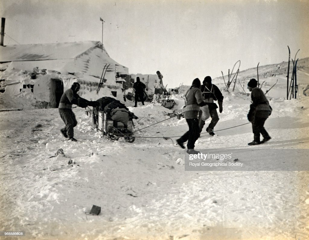 Captain Scott, Dr Simpson, Lieutenant Bowers and Evans leaving hut for the west, Antarctica, 15th September 1911. British Antarctic Expedition 1910-1913.