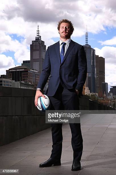 Captain Scott Higginbotham poses during the Melbourne Rebels Super Rugby season launch at Crown Palladium on February 20 2014 in Melbourne Australia