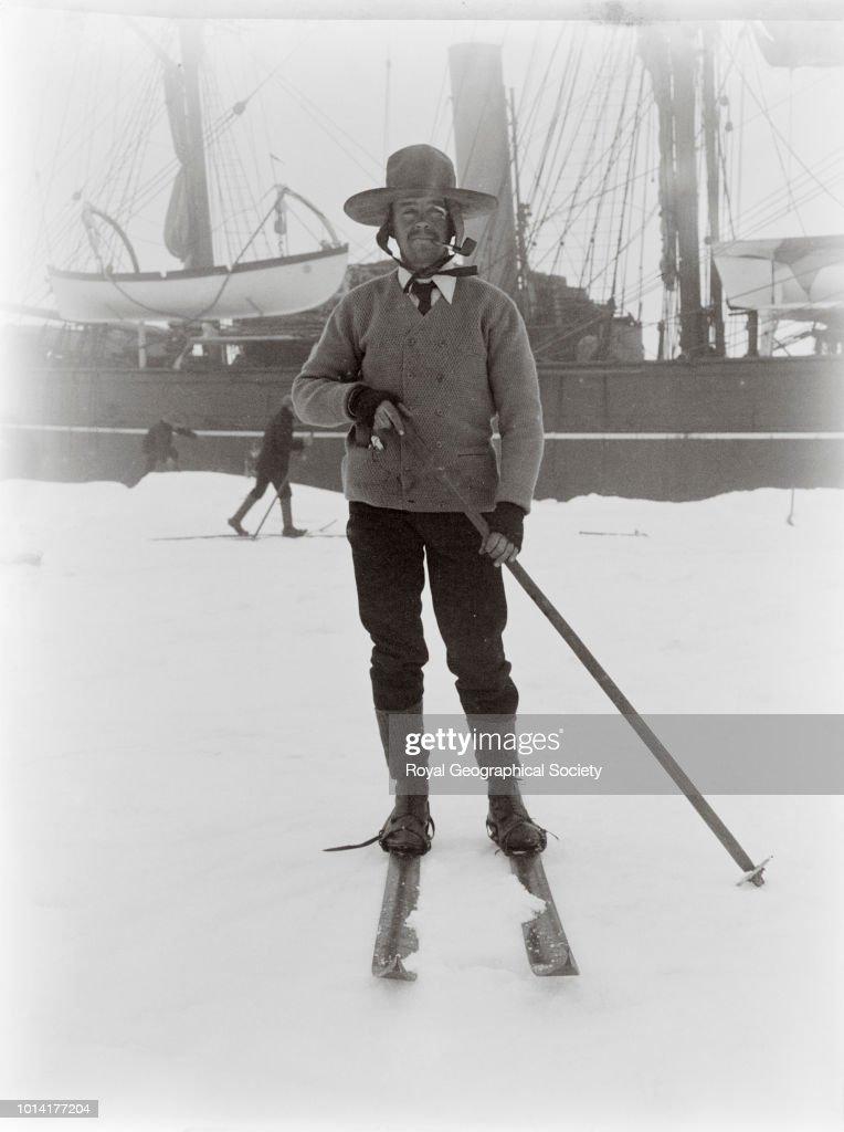Captain Scott on skis, Antarctica, 05 January 1902. National Antarctic Expedition 1901-1904.