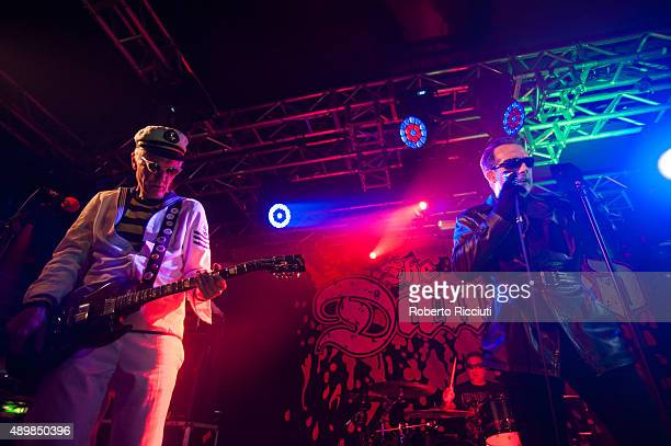 Captain Sensible and Dave Vanian of The Damned perform on stage at The Liquid Room on September 24 2015 in Edinburgh Scotland