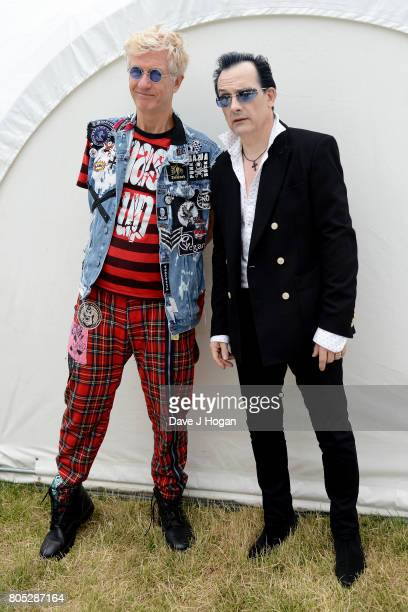 Captain Sensible and Dave Vanian of The Damned pose backstage at the Barclaycard Presents British Summer Time Festival in Hyde Park on July 1 2017 in...