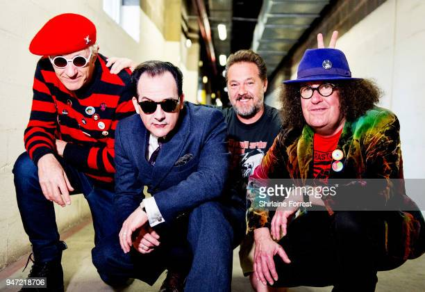 Captain Sensible Dave Vanian Pinch and Monty Oxymoron of The Damned pose backstage before an instore signing of their new album 'Evil Spirits' at HMV...