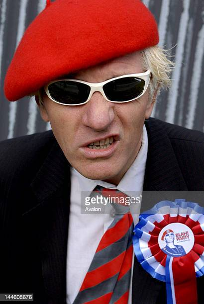 """Captain Sensible wearing his new political party rosette.; He has formed a new political party the """"Blah Party """" with the moto """"The only sensible..."""