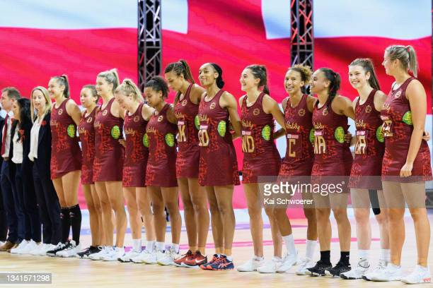 Captain Serena Guthrie of England and her team mates line up for their national anthem prior to game one of the Cadbury Netball Series between the...