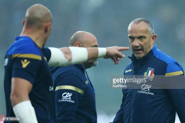 Captain Sergio Parisse and Italy coach Conor OShea during the Rugby test match between Italy and South Africa at Plebiscito Stadium in Padova Italy...