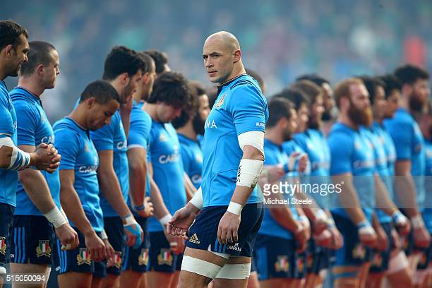 Captain Sergio Parisse of Italy is seen prior to the RBS Six Nations match between Ireland and Italy at Aviva Stadium on March 12 2016 in Dublin...