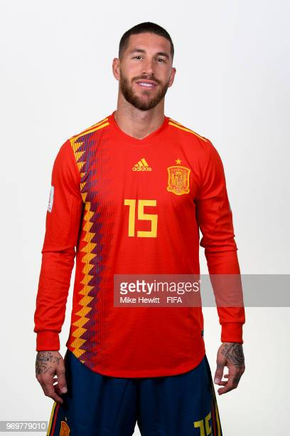 Captain Sergio Ramos of Spain poses for a portrait during the official FIFA World Cup 2018 portrait session at FC Krasnodar Academy on June 8 2018 in...
