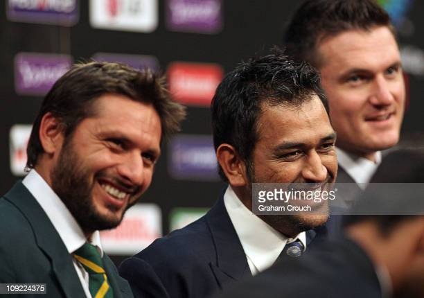 Captain Shahid Afridi of Pakistan Captain Mahendra Singh Dhoni of India and Captain Graeme Smith of South Africa at the captain's press conference at...