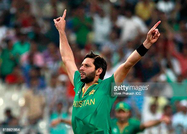 Captain Shahid Afridi of Pakistan celebrates taking the wicket of Sabbir Rahman of Bangladesh during the ICC World Twenty20 India 2016 match between...