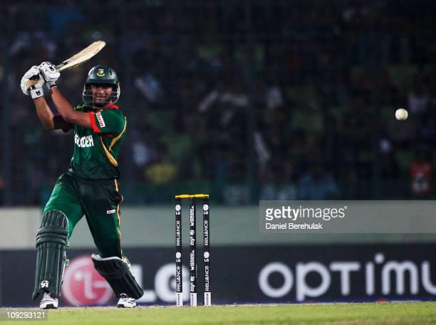 Captain Shakib Al Hasan of Bangladesh bats during the opening game of the ICC Cricket World Cup between Bangladesh and India at the ShereeBangla...
