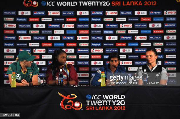 Captain Shashikala Siriwardene of Sri Lanka talks to the media with Mignon Du Preez of South Africa Merissa Aquilleira of the West Indies and Suzie...