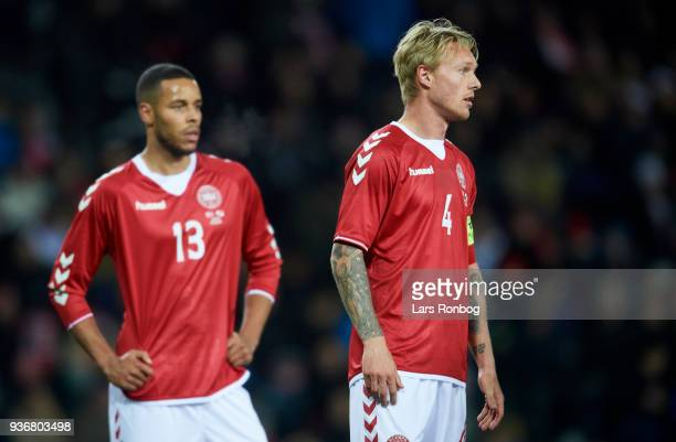 Captain Simon Kjar and Mathias Zanka Jorgensen of Denmark waiting during the International friendly match between Denmark and Panama at Brondby...
