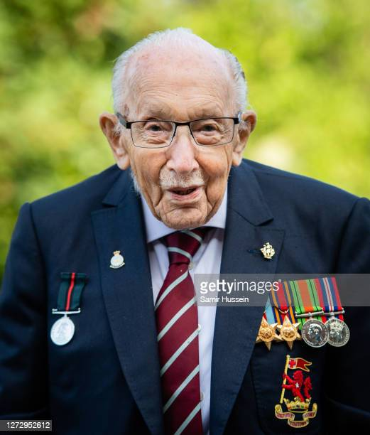 Captain Sir Tom Moore poses during a photocall to mark the launch of his memoir Tomorrow Will Be A Good Day at The Coach House on September 17 2020...