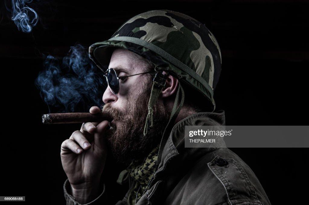 Captain smoking : Stock Photo