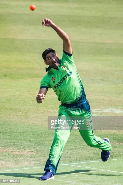 Captain Sohail Tanvir of Pakistan bowls during Day 2 of Hong Kong Cricket World Sixes 2017 Cup Semi 2 match between Pakistan vs Australia at Kowloon...