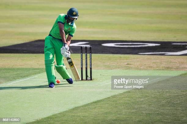 Captain Sohail Tanvir of Pakistan hits a shot during Day 1 of Hong Kong Cricket World Sixes 2017 Group A match between South Africa vs Pakistan at...