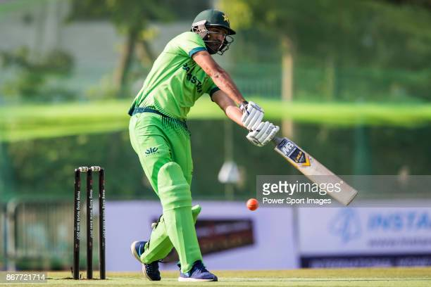 Captain Sohail Tanvir of Pakistan hits a shot during Day 2 of Hong Kong Cricket World Sixes 2017 match between Pakistan vs Marylebone Cricket Club at...