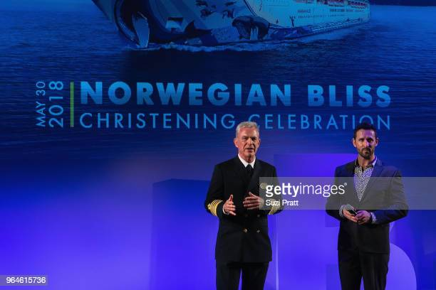 Captain Staffan Bengtsson and cruise director Silas Cook of Norwegian Bliss for christening ceremony on board at Pier 66 on May 30 2018 in Seattle...