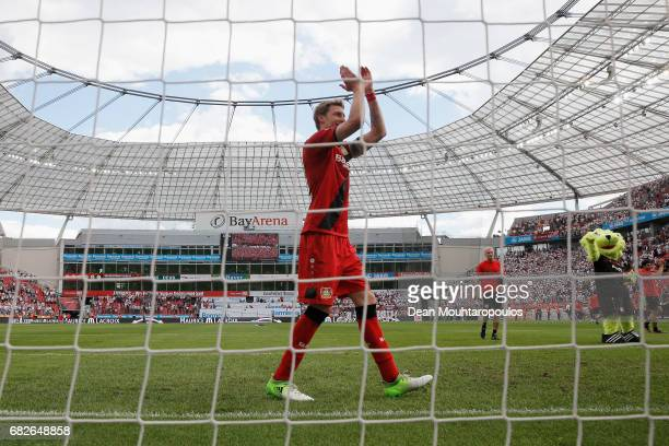 Captain Stefan Kiessling of Bayer 04 Leverkusen celebrates in front of the home fans after the Bundesliga match between Bayer 04 Leverkusen and 1 FC...