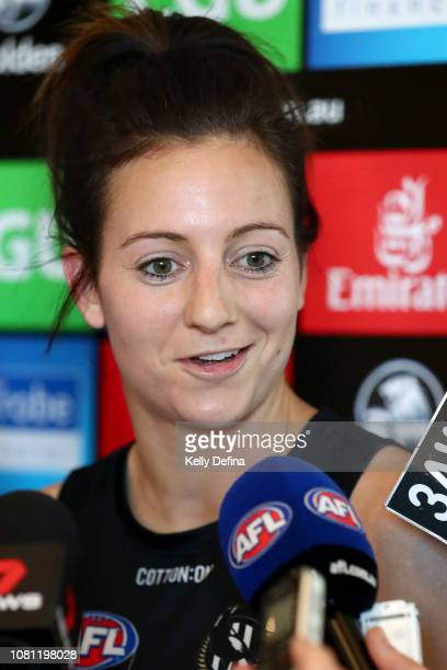 AFLW captain Steph Chiocci speaks to media during a Collingwood Magpies AFLW and AFL team training session at the Holden Centre on December 12 2018...
