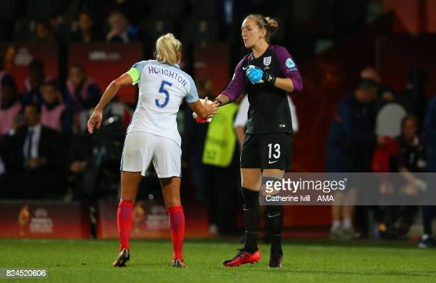 Captain Steph Houghton of England Women greets goalkeeper Siobhan Chamberlain of England Women as she comes on as substitute during the UEFA Women's...