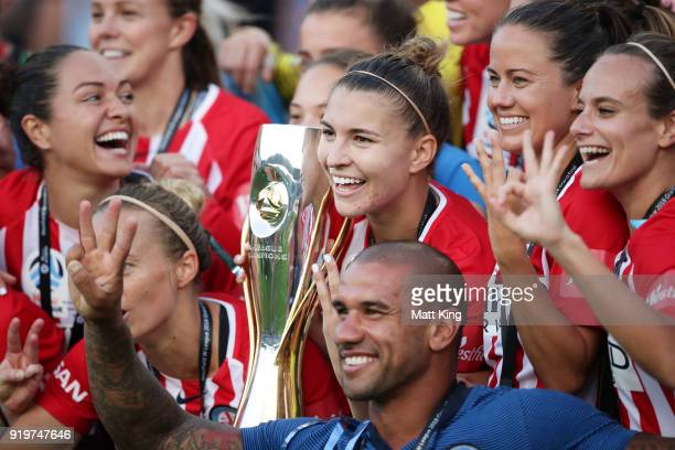 Captain Stephanie Catley of Melbourne City holds aloft the WLeague trophy after victory during the WLeague Grand Final match between Sydney FC and...
