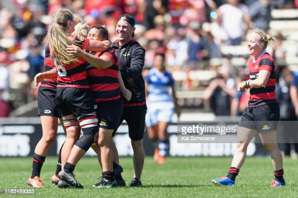 Captain Stephanie Te OhaereFox Head Coach Kieran Kite and Kendra Cocksedge of Canterbury celebrate their win in the Farah Palmer Cup Final between...