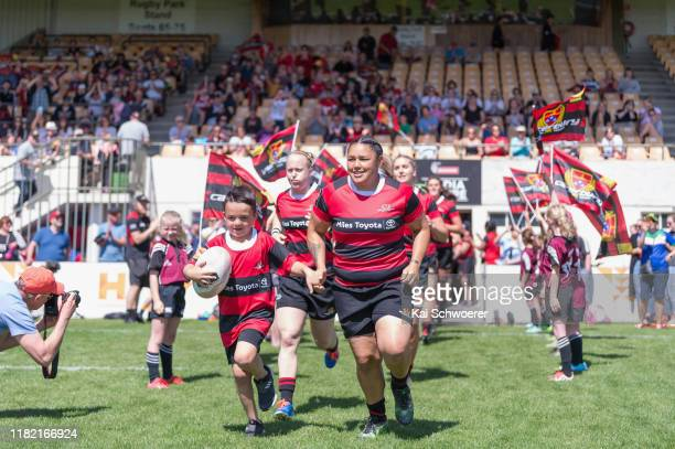 Captain Stephanie Te OhaereFox of Canterbury leads her team onto the field prior to the Farah Palmer Cup Premiership Semi Final match between...