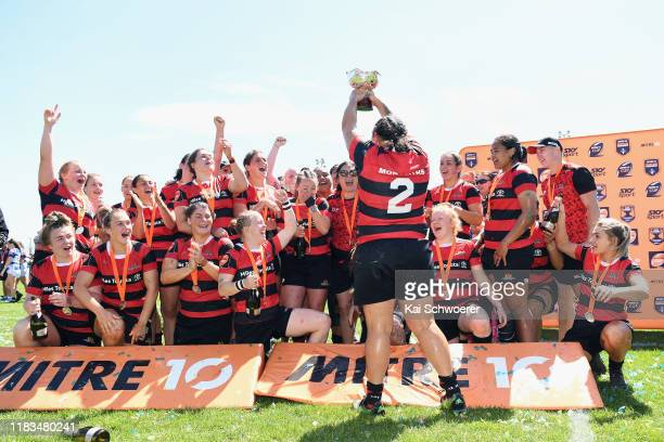 Captain Stephanie Te OhaereFox of Canterbury lifts the Farah Palmer Cup after their win in the Farah Palmer Cup Final between Canterbury and Auckland...