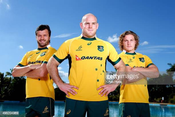 Captain Stephen Moore poses with vice captains Adam AshleyCooper and Michael Hooper during the Australian Wallabies captaincy announcement at...