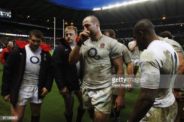 Captain Steve Borthwick of England looks dejected after defeat during the RBS Six Nations match between England and Ireland at Twickenham Stadium on...