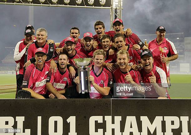 Captain Steve Smith of the Scorchers holds the T20 trophy after the T20 Big Bash League Grand Final match between the Perth Scorchers and the Sydney...