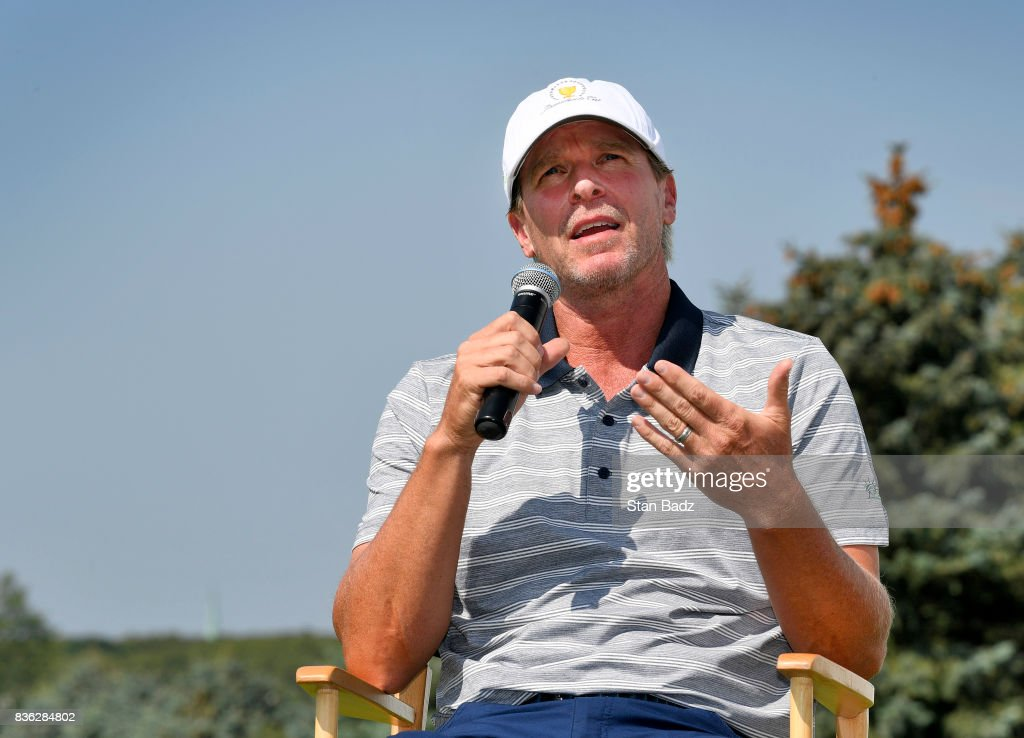 Captain Steve Stricker of the United States Presidents Cup Team replies to questions during the Presidents Cup media day at Liberty National Golf Club, host course of the 2017 Presidents Cup in Jersey City, New Jersey on August 21, 2017.