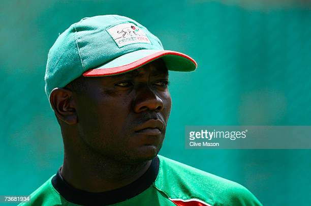 Captain Steve Tikolo of Kenya looks on during a Kenya team training session at the Beausejour Cricket Ground on March 23 2007 in Gros Islet Saint...