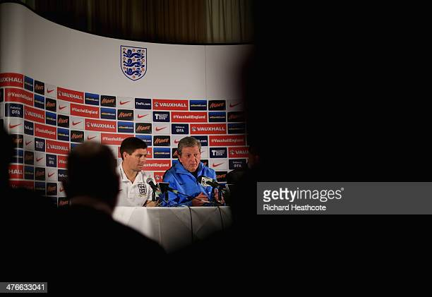 Captain Steven Gerrard and Manager Roy Hodgson talk to the media during an England press conference at The Grove Hotel on March 4 2014 in Watford...