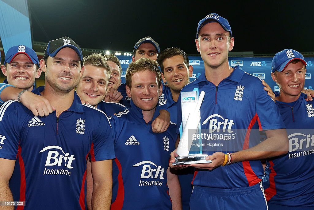 Captain Stuart Broad of England holds the series trophy at the conclusion of the third Twenty20 International match between New Zealand and England at Westpac Stadium on February 15, 2013 in Wellington, New Zealand.