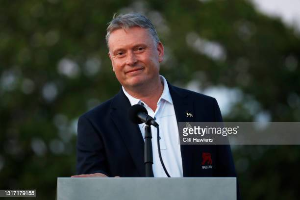 Captain Stuart Wilson of Team Great Britain and Ireland speaks to the crowd on Day Two of The Walker Cup at Seminole Golf Club on May 09, 2021 in...