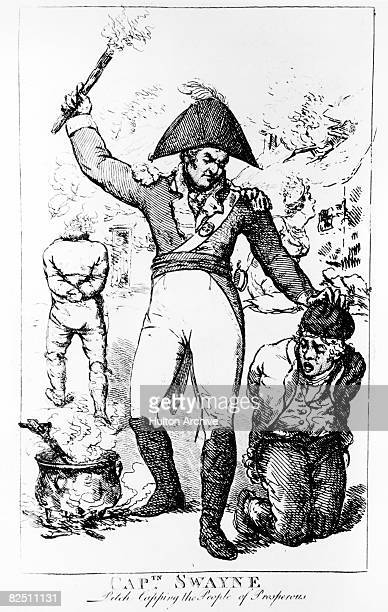 Captain Swayne pitchcaps the people of Prosperous in County Kildare during the Irish Rebellion of 1798 In this particular form of torture a mixture...