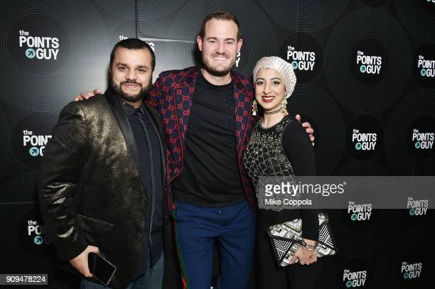 Captain Syed Adnan founder and CEO of The Points Guy Brian Kelly and Samia Butt attend The Points Guy Presents TPG Soundtracks PreGrammy Party With...