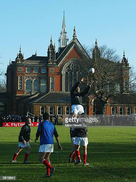 Captain Taine Randell practises his line-out jumping during a New Zealand Barbarians training session at Dulwich College on December 18, 2003 in...