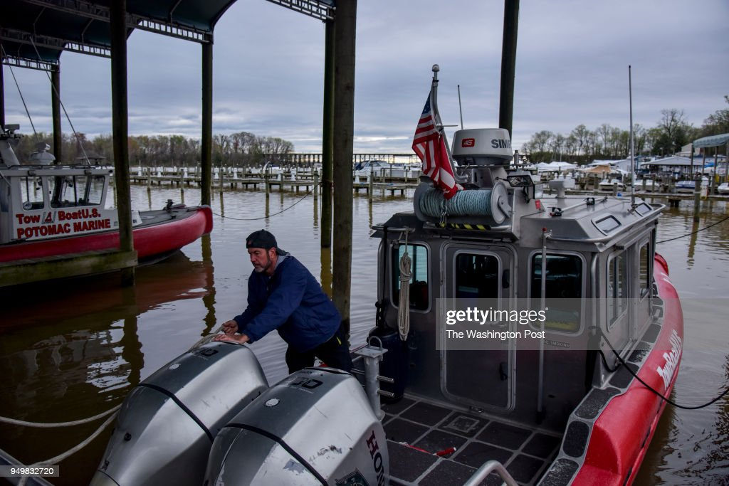 Captain Terry Hill, owner of Hampton's Landing Marina, prepares his tow boat for a tour of Neabsco Creek and the adjacent part of Occoquan Bay on Tuesday, April 17, 2018, in Woodbridge, VA. The U.S. Coast Guard recently removed the navigational aids and replaced them with large 'DANGER' signs in Occoquan Bay just outside Neabsco Creek. This essentially closes the waters to boat traffic in the creek. The decision, without forewarning or public input, has led the Fire Department to 'park' their rescue boat, 800 boaters (at the start of the boating season) will not travel in/out of the channel, a dozen businesses and 50 jobs could lose their livelihoods, and there could be loss of tax revenue for the state/county.