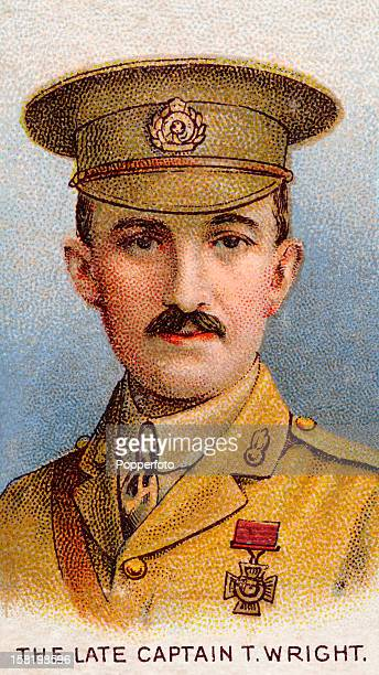 Captain Theodore Wright of the Royal Engineers who was awarded the Victoria Cross during World War One featured on a vintage cigarette card published...