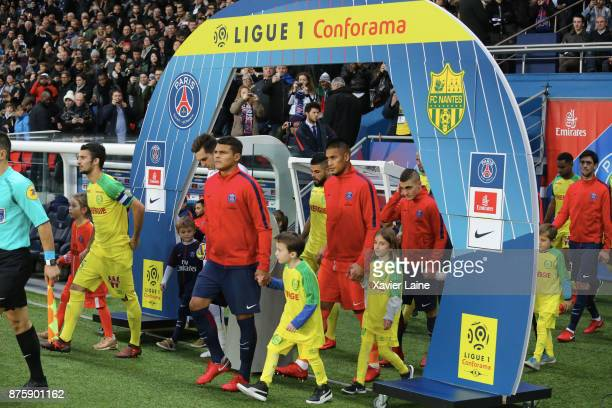 Captain Thiago Silva and Alphonse Areola of Paris SaintGermain entry on the pitch during the Ligue 1 match between Paris SaintGermain and FC Nantes...