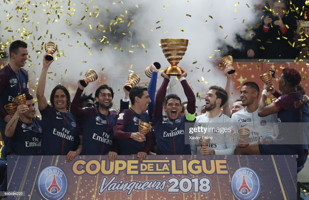 Captain Thiago Silva of Paris Saint-Germain celebrate the cup with teammates during the League Cup Final match between Paris Saint-Germain (PSG) and AS Monaco at Matmut Arena on March 31, 2018 in Bordeaux France.