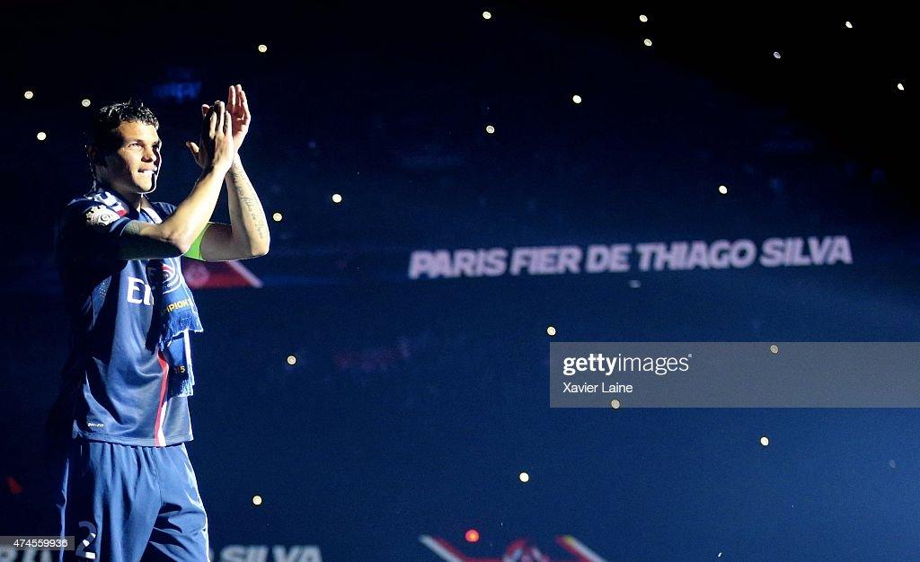 Captain Thiago Silva of Paris Saint-Germain celebrates winning the championship after the French Ligue 1 game between Paris Saint-Germain FC and Stade de Reims at Parc Des Princes on may 23, 2015 in Paris, France.