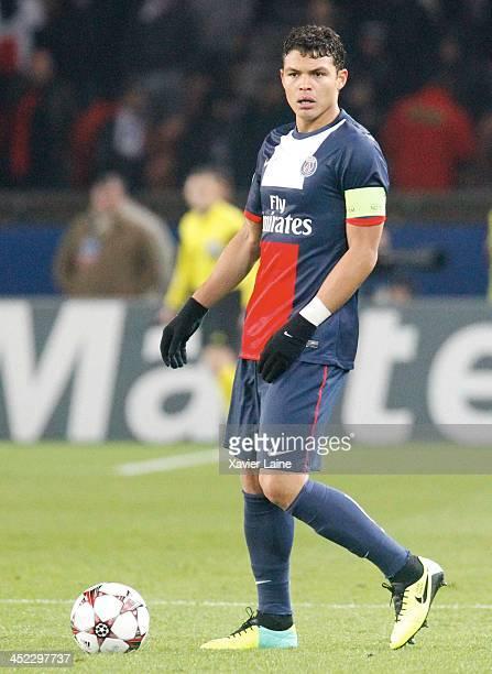 Captain Thiago Silva of Paris SaintGermain during the UEFA Champions League between Paris SaintGermain FC and Olympiacos FC at Parc Des Princes on...